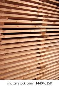 arranged boards in a sawmill