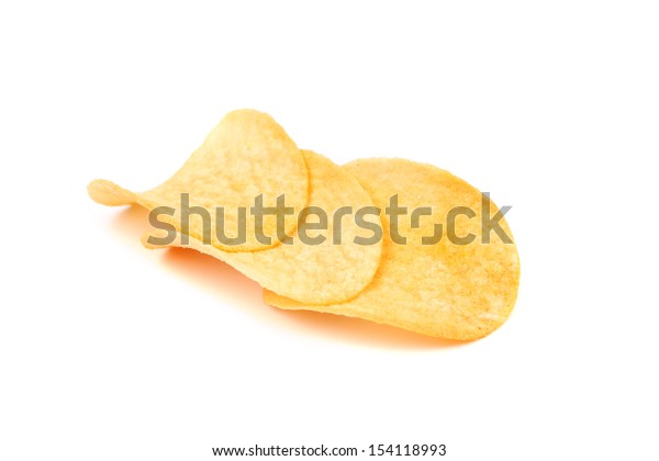 Arranged potato chips isolated on a white background