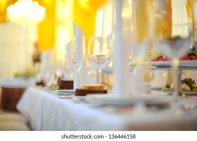 Arranged wedding table at restaurant