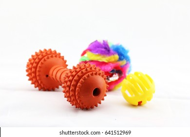 Arrangement of dog/pet toys.