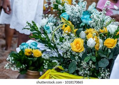 Arrangement of flowers for Iemanja