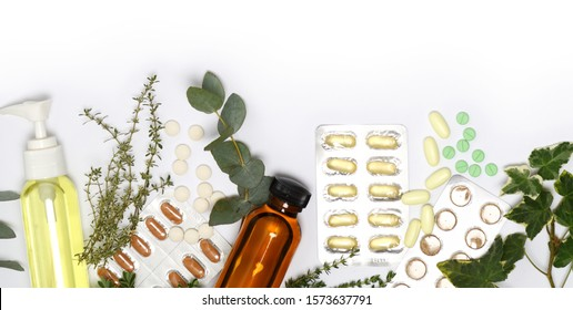 arrangement of health care products on white background