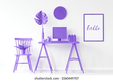 Arrangement idea for hipster home office interior with all purple furniture and decorations
