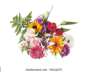 Arrangement of mixed flowers shot from above