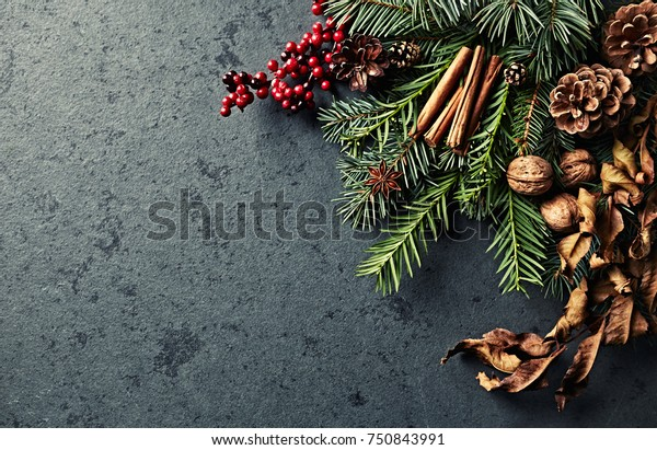 An arrangement of Natural Christmas Decorations for natural Christmas look. Flatlay. Copy space
