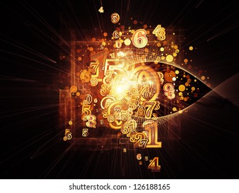 Arrangement of numbers and design elements on the subject of science and technology