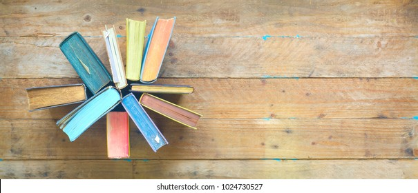 Arrangement of old books, flat lay, free copy space