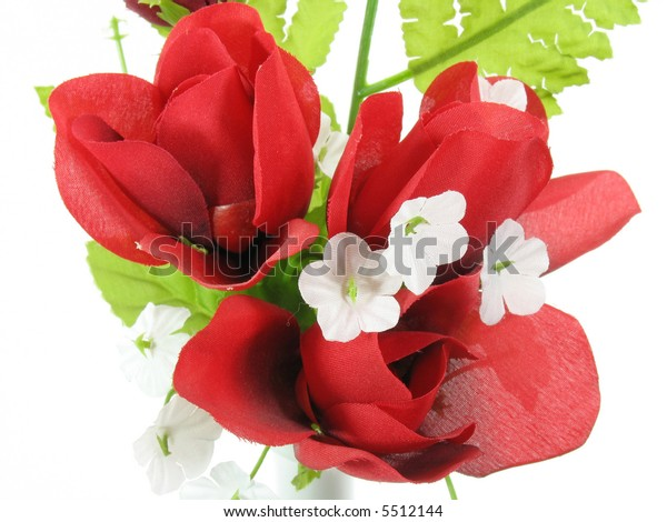 Arrangement Red Silk Flowers On White Stock Photo Edit Now 5512144