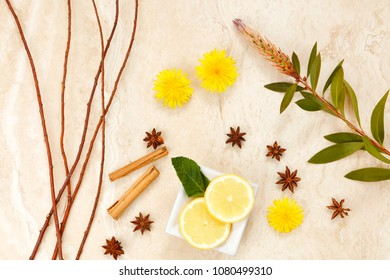 Arrangement of spices with lemon and dandelions with twigs as spring backdrop