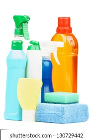 Arrangement Spray Bottles, Disinfectant, Sponges and others Cleaning Products isolated on white background