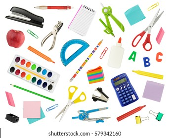 Arrangement of various school supplies, isolated in white.