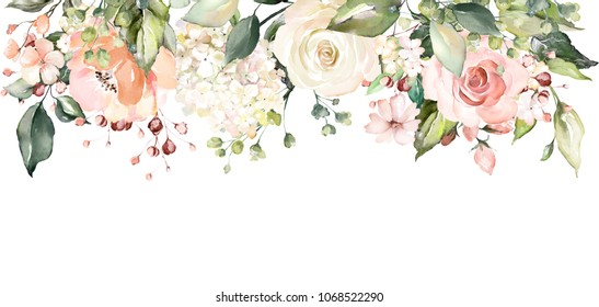 arrangements with watercolor flowers. floral illustration. Botanic composition for wedding or greeting card.  branch of flowers - abstraction roses