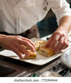 Arranging focaccia on a plate