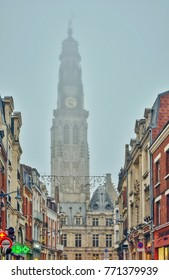 Arras, France - December 8, 2017: Christmas atmosphere in the foggy center of Arras, a beautiful flemish city in France