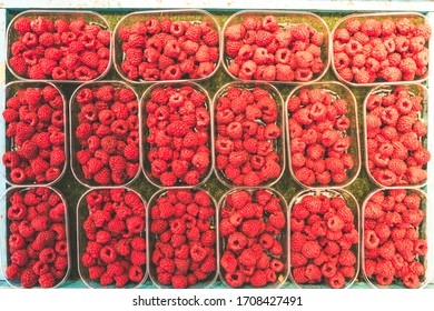Array of bowls or shells of juicy raspberries on a local street market in stockholm