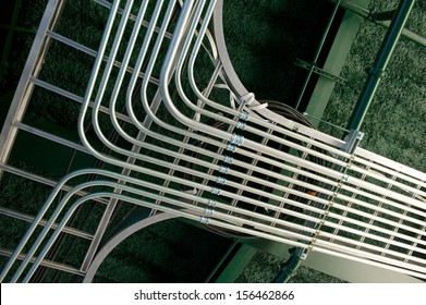 Array of newly installed electrical conduits