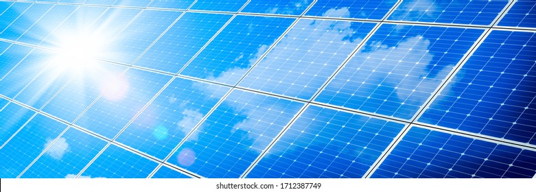 Array Of Solar Panels With Blue Sky And Sunlight Reflection- Clean Energy Concept