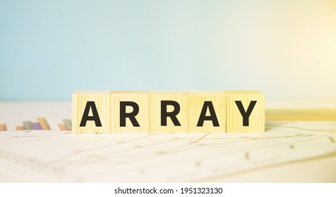 Array text on cubes. Technology and computer concept.
