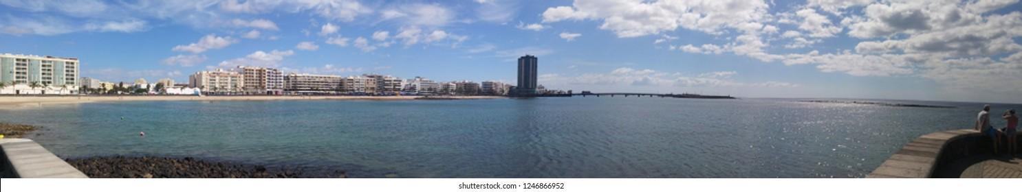 Arrecife, capital of Lanzarote. Canary islands, Spain. Panorama