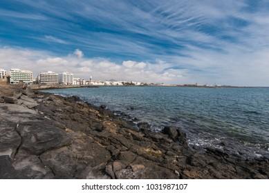 Arrecife coast and skyline in Lanzarote, Canary islands, Spain.