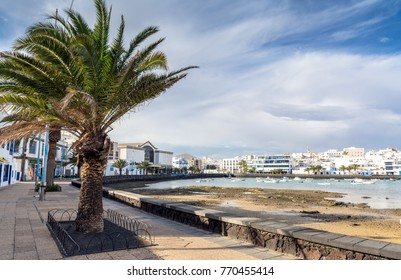 Arrecife, Spain - December 24, 2016: day view of Charco de San Gines in Arrecife, Spain. The harbor area was remodelled by Canarian architect Caesar Manrique in 1984.