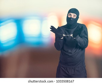 Arrested criminal. Crime and security concept