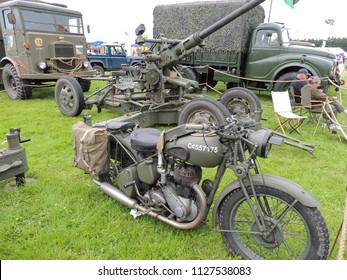 Arreton, Isle of Wight, UK - August 19th 2017: Vintage and classic military equipment on display at the Isle of Wight Garlic Festival in Arreton.