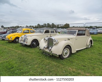 Arreton, Isle of Wight, UK - August 19th 2017: Vintage and classic cars on display at the Isle of Wight Garlic Festival in Arreton.