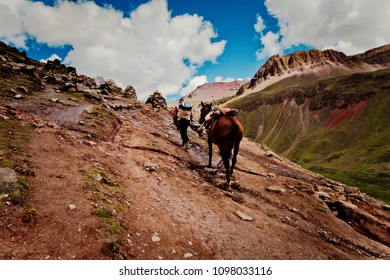 Arriero going up to Winicunca mountain of seven colors, Cusco