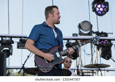 Arrington, VA/USA - 9/4/2014: Eric Krasno performs with The Revivalists. Krasno is a founding member of soul funk band Soulive from New York.