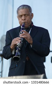 Arrington, VA/USA - 9/5/2014: Charlie Gabriel performs with Preservation Hall Jazz Band performs at LOCKN' Festival. A New Orleans jazz band founded in New Orleans in the early 1960s.