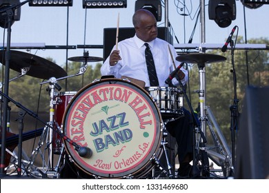 Arrington, VA/USA - 9/5/2014: Joseph Lastie Jr performs with Preservation Hall Jazz Band at LOCKN' Festival. A New Orleans jazz band founded in New Orleans in the early 1960s.