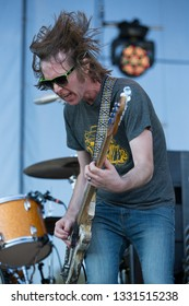 Arrington, VA/USA - 9/5/2014: Matt Patton performs with Drive-By Truckers at LOCKN' Festival. An alternative country/Southern rock band based in Athens.