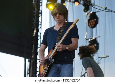 Arrington, VA/USA - 9/5/2014: Mike Cooley performs with Drive-By Truckers at LOCKN' Festival. An alternative country/Southern rock band based in Athens.