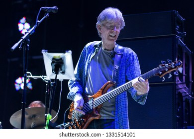 Arrington, VA/USA - 9/5/2014: Phil Lesh of The Grateful Dead performs at LOCKN' Festival. In 1994, he was inducted into The Rock and Roll Hall of Fame.