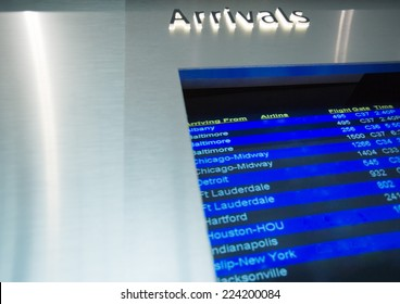 Arrival board, low angle view