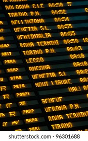 Arrival and departure board at Central railway station in Milan. Italy.
