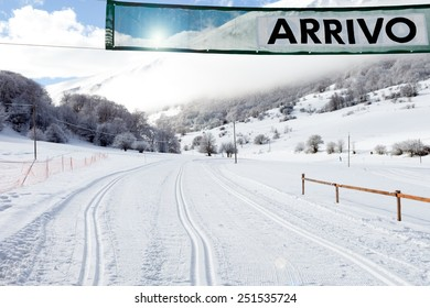 Arrival gate on country-cross ski slope in Abruzzi Italy.