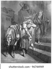 Arrival of the Good Samaritan at the Inn - Picture from The Holy Scriptures, Old and New Testaments books collection published in 1885, Stuttgart-Germany. Drawings by Gustave Dore.