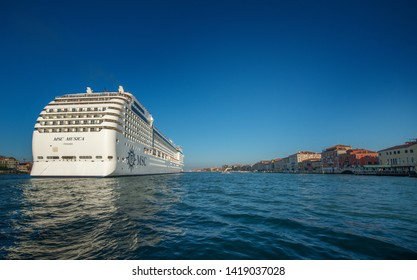 Arrival of a large cruise ship, MSC Musica, Panama, in Venice. The large vessels bringing  many tourists continuously, Venice, Italy, Sep, 9, 2012.