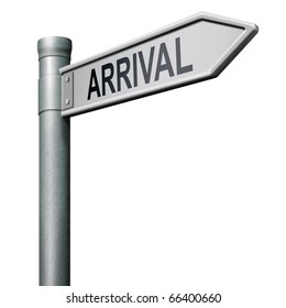 arrival sign post isolated on white arriving flight schedule arrival button