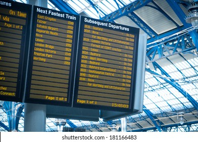Arrivals departure board, Airport & Train station in King Cross, London, England, UK