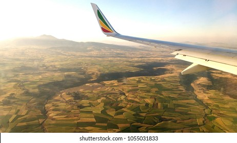 Arriving Addis Ababa by plane, North  Ethiopia, Africa