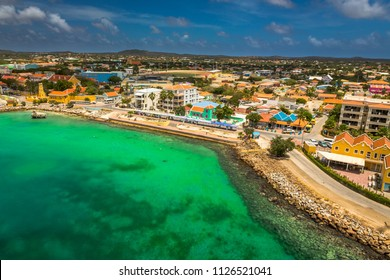 Arriving at Bonaire, capture from Ship at the Capital of Bonaire, Kralendijk in this beautiful island of the Caribbean Netherlands, with its paradisiac beaches and water.
