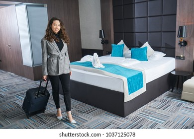 Arriving at a hotel room, concept