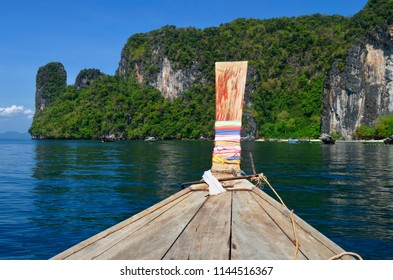 Arriving to Koh Hong on a long tail boat