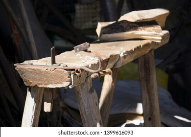 Arro village Sobrarbe county Huesca Aragon Spain Table for cutting trunks