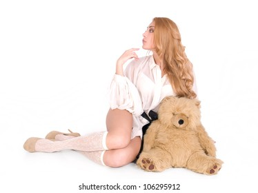 Arrogant, aristicrat sexy girl with lovely teddy