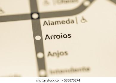 Arroios Station. Lisbon Metro map.