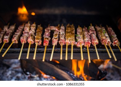 Arrosticini from Abruzzo. Adult sheep meat castrated on embers.